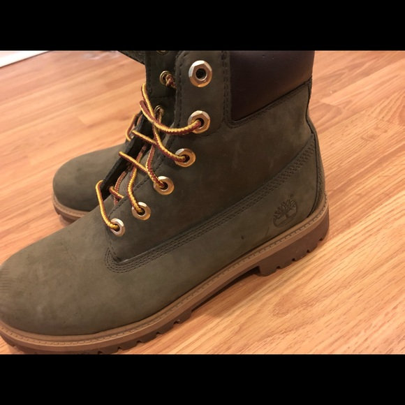 olive green timberlands womens